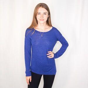 LINE Blue Knit Linen Top Long Sleeve Side Zip